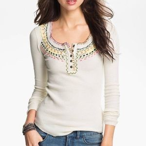 Free people cream embroidery thermal top
